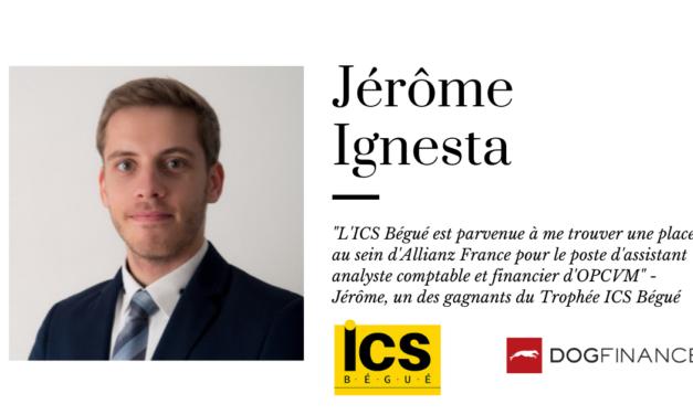 """""""L'ICS Bégué est parvenue à me trouver une place au sein d'Allianz France pour le poste d'assistant analyste comptable et financier d'OPCVM"""" – Jérôme, un des gagnants du Trophée ICS Bégué"""